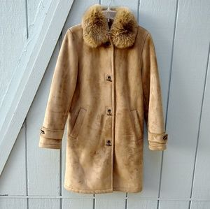 Dana Buchman mid length camel color coat size S
